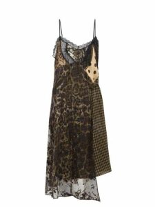 Preen By Thornton Bregazzi - Leah Velvet And Lace Panel Slip Dress - Womens - Black Multi