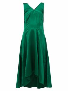 Sies Marjan - Miriam Dip Hem Charmeuse Midi Dress - Womens - Dark Green