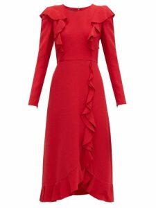 Giambattista Valli - Ruffled Bouclé Midi Dress - Womens - Red