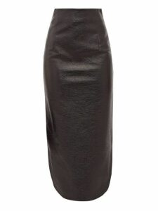 A.w.a.k.e. Mode - High Rise Vinyl Midi Skirt - Womens - Black