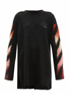 Off-white - Diag Logo Intarsia Wool Blend Sweater Dress - Womens - Black Multi