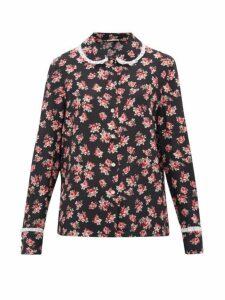 Miu Miu - Lace Trimmed Rose Print Silk Blouse - Womens - Black Multi