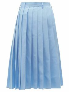 Prada - Knife Pleated Cotton Poplin Midi Skirt - Womens - Blue