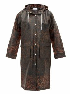 Ganni - Tiger Print Biodegradable Rain Coat - Womens - Brown