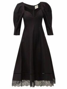Khaite - Dina Puff Sleeve Cotton Midi Dress - Womens - Black