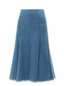 Gabriela Hearst - Amy Fluted Denim Midi Skirt - Womens - Denim