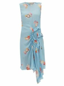 Preen Line - Antoinette Ruffled Floral Print Crepe Dress - Womens - Blue Multi