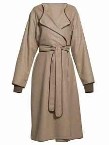 The Row - Helga Belted Leather-trim Felt Coat - Womens - Light Brown