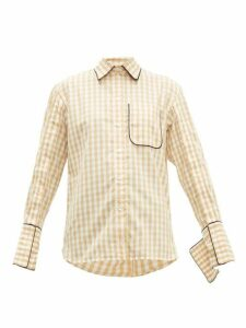Jw Anderson - Scarf Collar Gingham Cotton Shirt - Womens - Brown White