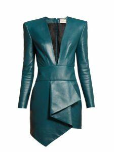 Alexandre Vauthier - Plunge Neck Leather Mini Dress - Womens - Blue