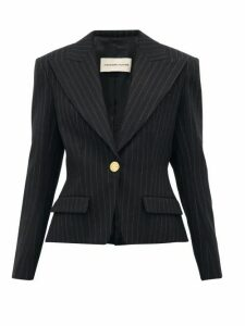 Alexandre Vauthier - Pinstripe Single Breasted Wool Blend Blazer - Womens - Black Multi