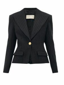 Alexandre Vauthier - Pinstripe Single Breasted Wool Blend Blazer - Womens - Black Multi