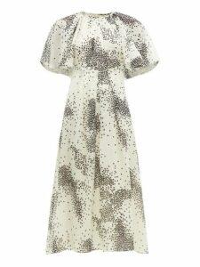 Giambattista Valli - Square-print Silk-chiffon Midi Dress - Womens - Ivory Multi
