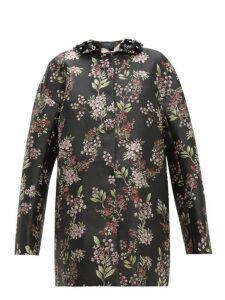 Giambattista Valli - Beaded Single Breasted Floral Jacquard Coat - Womens - Black Multi