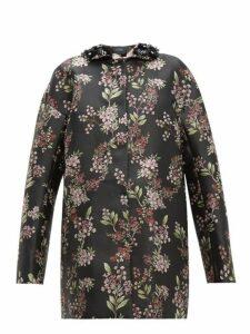 Giambattista Valli - Beaded Single-breasted Floral Jacquard Coat - Womens - Black Multi
