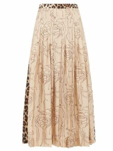 La Prestic Ouiston - Gabrielle Abstract & Leopard-print Silk Midi Skirt - Womens - Leopard