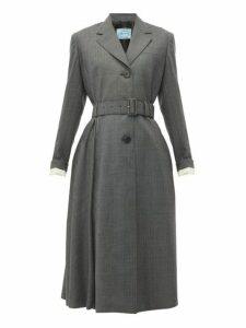 Prada - Single Breasted Prince Of Wales Check Wool Coat - Womens - Grey