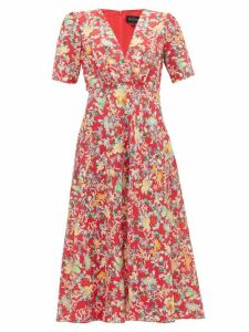 Saloni - Eden Floral Print Silk Midi Dress - Womens - Red Multi