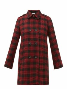 Redvalentino - Double Breasted Prince Of Wales Checked Coat - Womens - Black Red