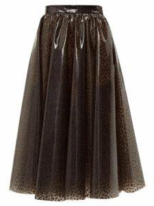 Msgm - Leopard Print Pvc Midi Skirt - Womens - Leopard