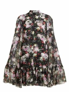 Erdem - Constantine Floral Print Voile Cape Dress - Womens - Black Print