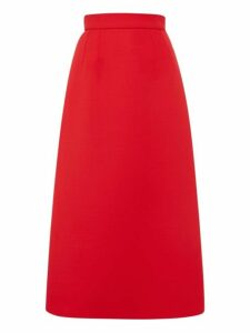 Dolce & Gabbana - Wool Midi Skirt - Womens - Red