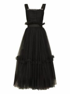 Dolce & Gabbana - Polka Dot Ruched Tulle Midi Dress - Womens - Black
