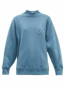 Jw Anderson - Oversized Button Sleeve Cotton Jersey Sweatshirt - Womens - Blue