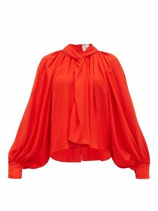 A.w.a.k.e. Mode - Twist Front Gathered Crepe Blouse - Womens - Red