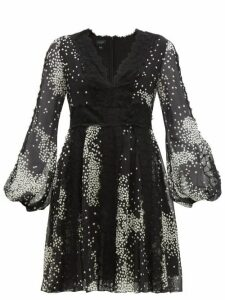 Giambattista Valli - Square-print Lace-trim Silk-georgette Dress - Womens - Black White