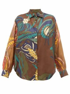 La Prestic Ouiston - Varenne Floral Print Silk Twill Shirt - Womens - Brown Multi