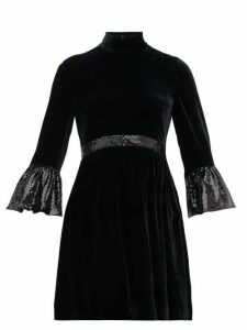 Miu Miu - Sequinned Cuff Velvet Mini Dress - Womens - Black