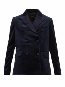 Golden Goose - Misam Double Breasted Velvet Blazer - Womens - Navy