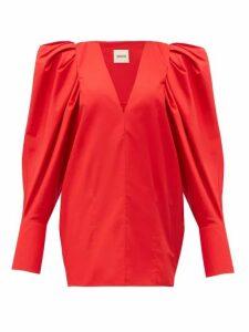 Khaite - Connie Puff Sleeve Cotton Top - Womens - Red