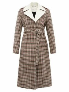 Chloé - Contrast Lapel Checked Wool Blend Coat - Womens - Beige Multi