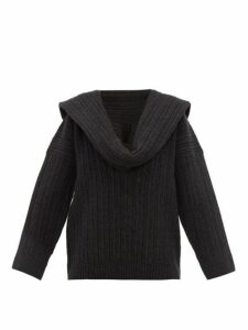 Jacquemus - Ahwa Draped Scarf Neckline Wool Blend Sweater - Womens - Dark Grey