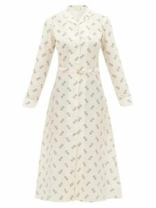 Giuliva Heritage Collection - The Clara Geometric Print Cotton Blend Shirtdress - Womens - Ivory Multi