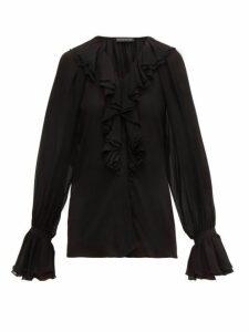 Etro - Devon Ruffled Silk Chiffon Blouse - Womens - Black