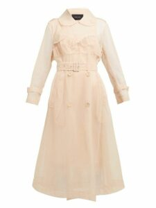 Simone Rocha - Faux Pearl Embellished Tulle Trench Coat - Womens - Beige