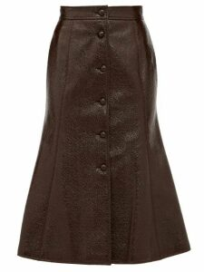 Françoise - Button-down Patent-vinyl A-line Skirt - Womens - Brown