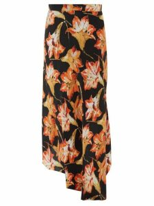 Raey - Lily Print Dip Hem Silk Midi Slip Skirt - Womens - Red Print