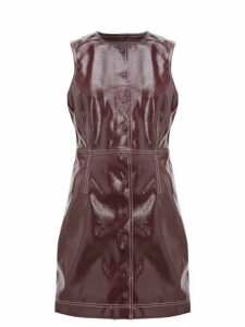 Ganni - Button Down Patent Vinyl Mini Dress - Womens - Burgundy