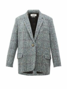 Isabel Marant Étoile - Korix Single Breasted Checked Bouclé Blazer - Womens - Light Blue