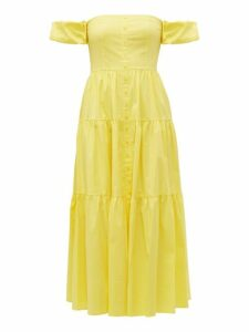 Staud - Elio Off The Shoulder Cotton Blend Maxi Dress - Womens - Light Yellow