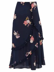Preen Line - Nevah Floral Print Ruffled Midi Skirt - Womens - Navy Multi