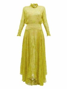 Preen By Thornton Bregazzi - Mary Ruffle Neck Devoré Maxi Dress - Womens - Yellow
