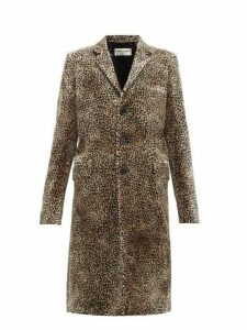 Saint Laurent - Leopard Print Single Breasted Velvet Coat - Womens - Leopard