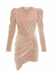 Alexandre Vauthier - Puff Sleeve Wrap Style Velvet Mini Dress - Womens - Beige
