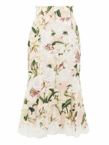 Dolce & Gabbana - Lily Print Lace Detail Midi Skirt - Womens - Pink