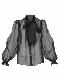 Dolce & Gabbana - Balloon Sleeve Silk Organza Blouse - Womens - Black